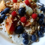 "The Budwig diet ""muesli"" is made with cold-pressed flax oil creamed with quark cottage cheese plus fruit, berries and chopped nuts. It is as delicious as it looks."