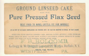 Back of a Victorian postcard promoting the health benefits of feeding linseed cake to beef, horses and other animals.