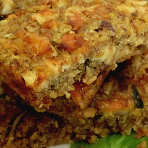 Courgette and apple linseed flaxjacks, gluten-free, dairy-free, sugar-free and very delicious.