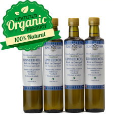 Organic cold-pressed linseed flax oil 4 x 500ml
