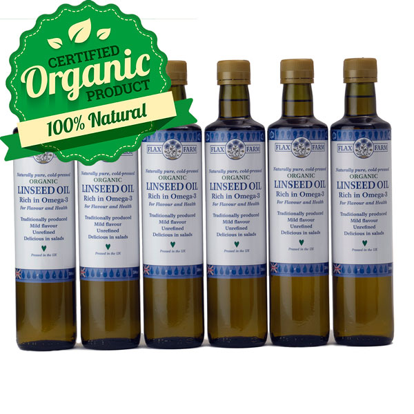 Organic cold pressed linseed flax oil 6 x-500ml