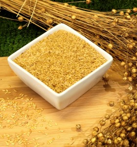Whole gold linseed and flax plant