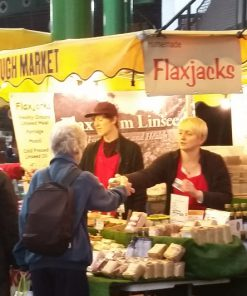 Saturated fat free Flaxjacks are healthy flapjacks; also available at Borough Market and other farmers' markets.