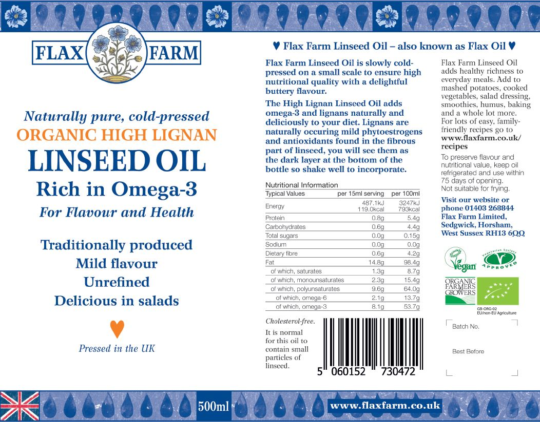 Flax Farm cold-pressed organic high lignan linseed oil label