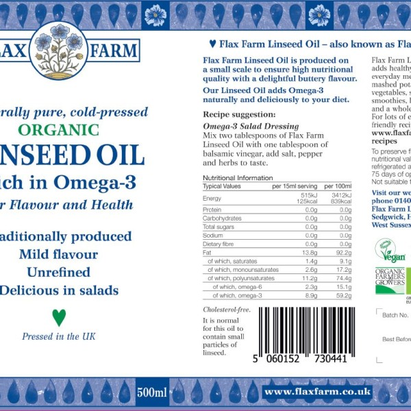 Flax Farm cold-pressed organic linseed oil label