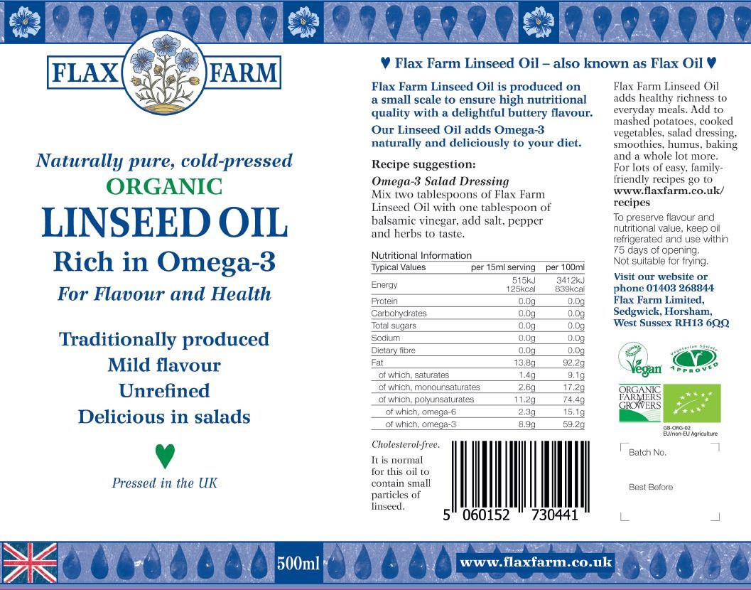 Flax Farm cold-pressed organic linseed oil label