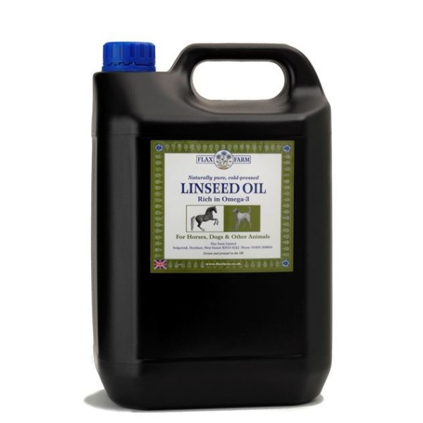 Flax Farm fresh cold pressed linseed oil for horses and dogs
