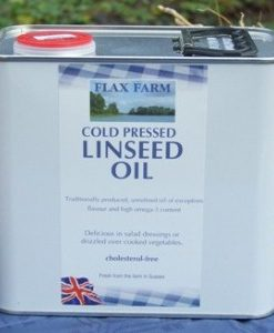 Value large container UK-grown. freshly-pressed, cold-pressed linseed oil.