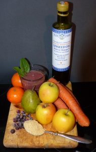 Linseed smoothie with fruit and veg
