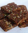 Linseed Fruitcake Flaxjacks. Vegan. dairy-free, gluten-free, sugar-free