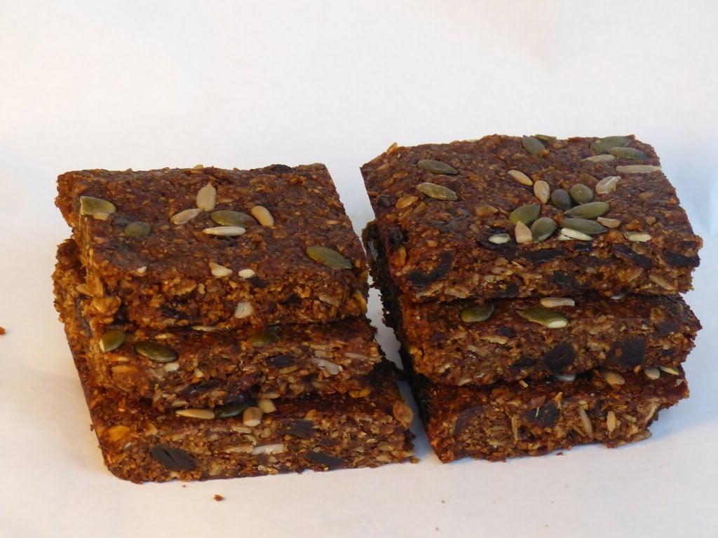 Linseed Fruitcake Flaxjacks. Vegan. dairy-free, gluten-free, sugar-free, saturated-fat free, egg-free, nut-free.