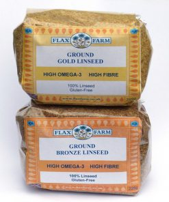 2 mini 225g packs gold and bronze ground linseed
